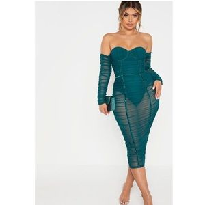 PLT green ruched dress